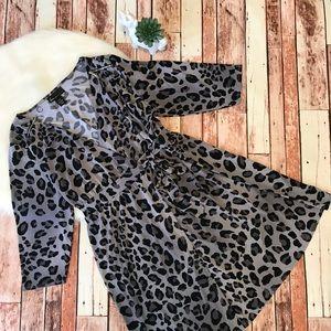 Lane Bryant Wrap Dress Size 14/16 Leopard Print